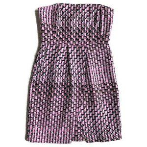 Banana Republic Pink/Black Silk Strapless Dress